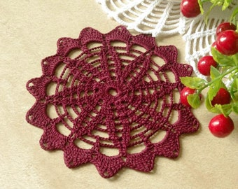 Crochet doily Burgundy crochet doily Small crochet doily Small doilies 5 inches Small doilies 418