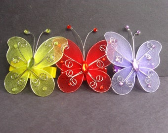 Butterfly Hair Clips, Hair Accessories for Girls, Yellow Red Lilac Butterfly Clips, Hair Bows