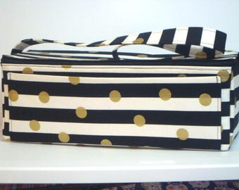 Super Double Wide Large 6 inch Depth  Fabric Coupon Organizer - With ZIPPER CLOSER  Black and White Stripes with Gold Dots