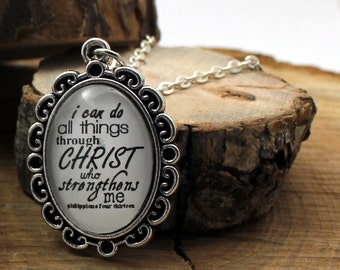 Pendant necklace Philippians 4:13 I can do all things through Christ who strengthens me Vintage style Christian Pendant & Chain Hymn Drop