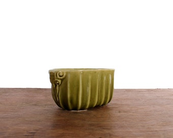 Vintage Small Green Ceramic Planter. USA