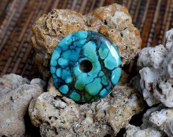 Turquoise Donut Pendant...Tibetan turquoise