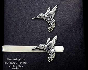 Hummmingbird Tie Tack or Hummingbird Tie Bar / Tie Clip Sterling Silver