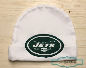 New York Jets Baby Hat Made from New York Jets Fabric, Baby Jets, New York Baby, Baby Shower Gift, New Baby Gift, NFL Baby Hat