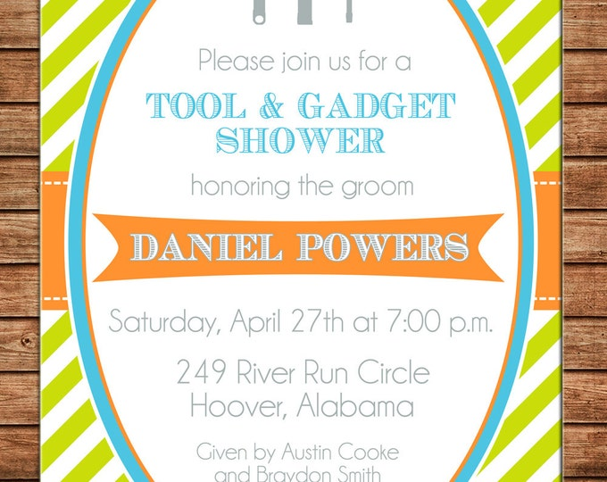 Invitation Tool Gadget Groom Shower Birthday Party - Can personalize colors /wording - Printable File or Printed Cards