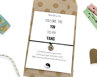 Yin Yang Wish Bracelet, Boyfriend Girlfriend Bracelet, Gift for Boyfriend, Gift for Girlfriend. Yin Yang charm Bracelet, Yin Yang Jewelry.