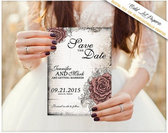 Elegant Rose Save the Date Wedding Announcement Card Rose and Lace Vintage Wedding Old World Wedding, Any Color, Printable Save the Date