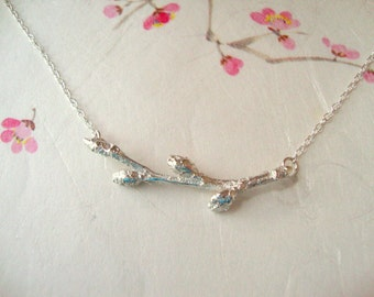 Spring Cherry blossom bud necklace in silver-Oka-san