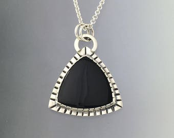 Large Triangle Black Onyx set in Sterling Silver Pendant.  **This listing is only for the Pendant. Ready to Ship.