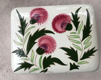 Stangl Pottery Cigarette Box Thistle Pattern Trinket or Jewelry Box Vintage Tobacciana Collectible Hand Painted Pottery MOD Thistle Pattern