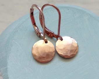 Rose Gold Earrings, Rose Gold Jewelry, Hammered Earrings, Pink Gold Earrings, 14k Gold Fill, Drop Dangle Circle Round Disc Leverback Lever