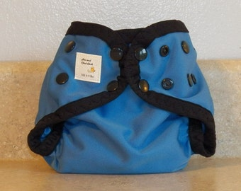 Preemie Newborn PUL Diaper Cover with Leg Gussets- 4 to 9 pounds- Cornflower Blue with Black Accents- 20013