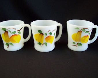 3 Fire King Gay Fab D Handled Mugs