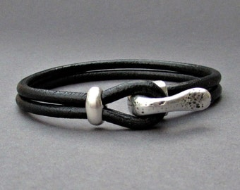 Silver Hook Mens Bracelet, Leather Bracelet, Antique Silver Plated, Rustic Mens Bracelet Customized On Your Wrist