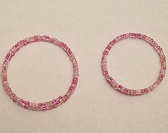 Pink Beaded Memory Wire Bangle