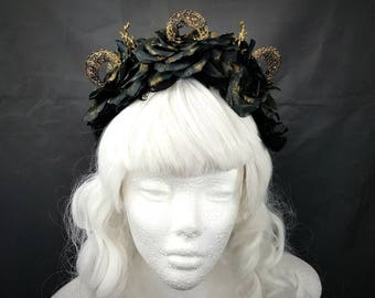 Moon Tree Filigree headpiece in black gold, moon branches rose headband in black gold