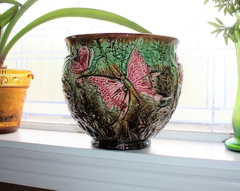 Large Art Nouveau Jardiniere with Butterflies Antique Weller Pottery