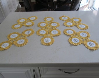 Crochet Doilies Yellow and White