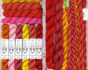 Holiday gift, thread assortment, Needlepoint fibers, silk, silk fiber, embroidery, red, pink, yellow, orange, hand dyed thread, thread packs