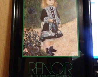 Huge Markdown!! RENOIR * GUGGENHEIM PRINT * Girl With Watering Can * Rare Framed Poster from 1982 Old Masters Museum Exhibit * New York City