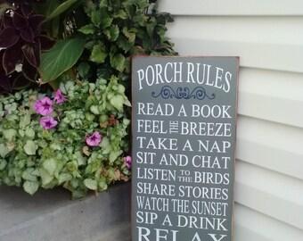 Porch Rules sign - Porch sign - Porch - Porch decor - Patio - Porch decorations  - Outdoor decor- Rustic home decor - rustic wood sign -