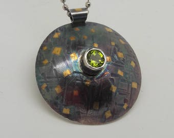 Domed Sterling & Keum Boo Pendant