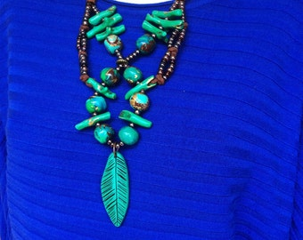 Emerald Green and Turquoise Statement Necklace / Tribal Green Feather Necklace / Long Layered Statement Necklace