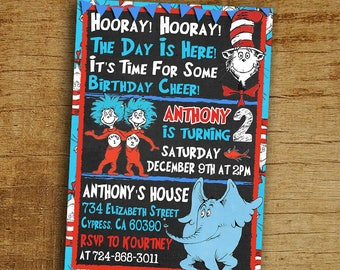 Cat In The Hat Birthday Invitation, Dr Seuss Invitation, Digital-Printable Cat In The Hat Birthday Invitation, Cat In The Hat Party Invite