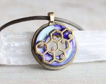 violet honeycomb necklace, honeycomb jewelry, nature necklace, cord necklace, unique gift, womens gift, honey necklace, honeybee