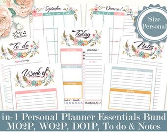 Personal Planner Essentials Bundle 5-in-1 Printable, Daily planner, Weekly planner, Monthly planner Personal Planner Inserts Filofax Refills