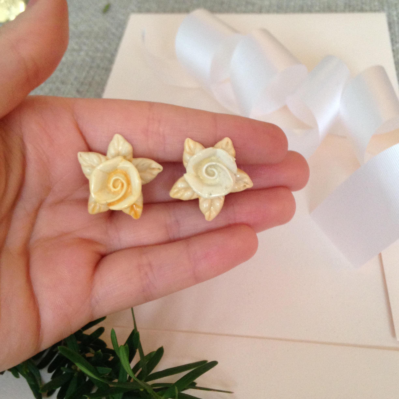 Bridal Earrings Flower - Bridal Earrings - Bride Earrings - Wedding ...