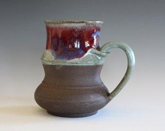 Coffee Mug Pottery, 14 oz, unique coffee mug, ceramic cup, handthrown mug, stoneware mug, wheel thrown pottery mug, ceramics and pottery