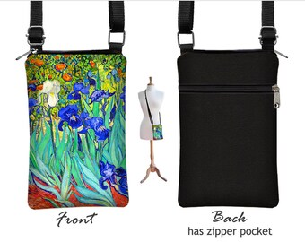 iPhone 6 Plus Case,  Cell Phone Case for iPhone 6,  Van Gogh Irises , Fabric  Phone Purse, Small Crossbody Bag,  blue orange turquoise  RTS