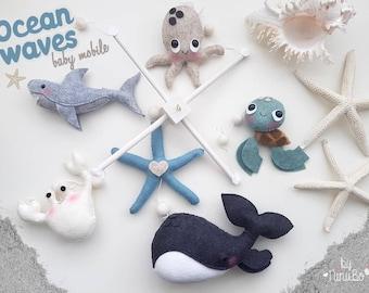 Ocean baby mobile - Sea Creature Mobile - Whale Mobile - Baby Mobile - Felt Mobile - Hanging Mobile