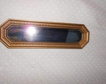 Gold Mirror Rectangle Skinny  Hangs both ways
