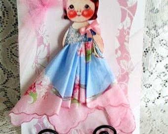 Linda Dolly Dingle Paper Doll Hankie Card