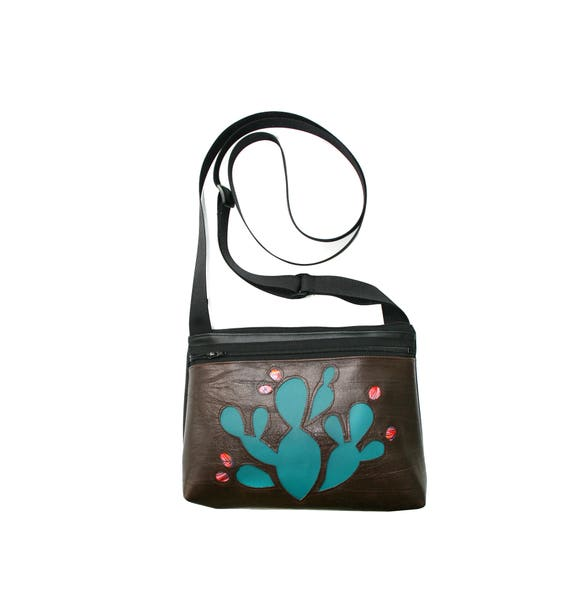 Cactus, dark brown vinyl, boxy cross body, vegan leather, zipper top