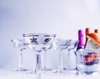Vintage Libbey Silver Leaf Champagne Glasses, Champs for days, Old Hollywood glam, celebrate vintage glassware, barware for the hostess