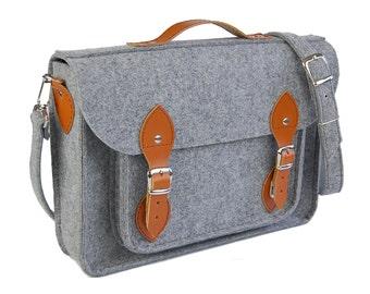Felt Macbook 13 inch satchel, Laptop bag, sleeve, Macbook Air 13 inch, Casual bag, Shoulder bag brown leather strap
