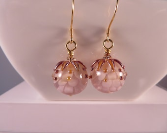 Floral earrings, Dahlia,s soft pink,white,metallic raised leaves and dots, Sterling silver earrings