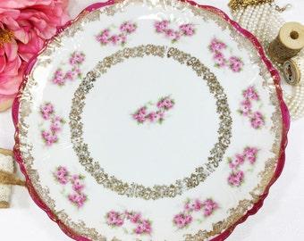 Austrian Wallendar Pink Rose Porcelain Plate, Display Plate, Wall Decor, Dinnerware, Cake Plate, Shabby Chic #A15