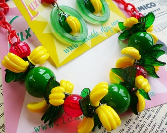 NEW Colourway! Banana Garland - 1940's inspired fruit salad necklace - vintage style handmade by Luxulite