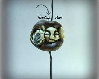 Ceramic beads, Stoneware beads, Pottery beads, Handmade beads, Focal bead,    # 95