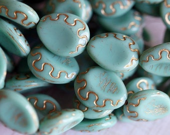 Czech Glass Beads - Turquoise and Gold - Carved Drops - Bead Soup Beads