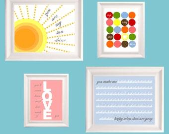 "Sunshine Wall Art for Kids // Modern Nursery Art //You Are My Sunshine Art // Colorful Nursery Decor Set of 2-8x10 and 2-5x7"" PRINTS ONLY"