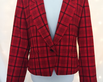 Petite Plaid Blazer with Single Button Closure - Plus Size Vintage Petite Red and Black Coat Jacket