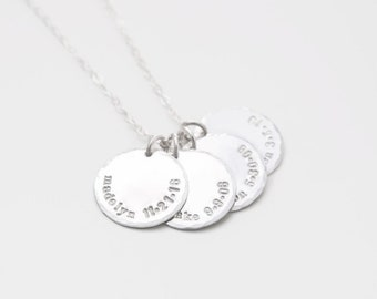 Four Name Necklace with Birthdate, Hand Stamped Custom Mommy Necklace, Four Name Silver Discs