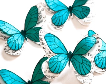 Turquoise butterflies, vintage wedding decor, blue baby shower decorations, turquoise wall stickers, butterfly wall decals for baby girl