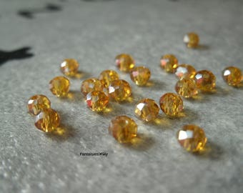 (PF45) Set of 20 effect dark peach Swarovski Crystal 4mm faceted glass beads.