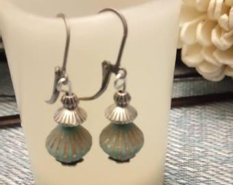 Sleeper steel beads and turquoise